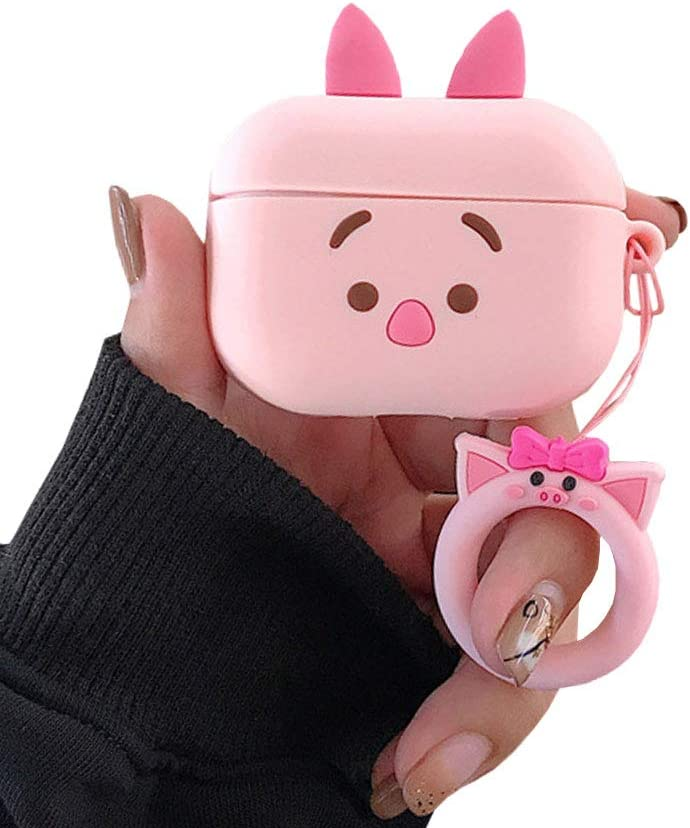 TOUBN Airpods Charging Case, Cute Cartoon Pig Design Earphone Cover, Soft Silcone Full Protective Skin Suitable For Airpods Pro (Pink Pig)