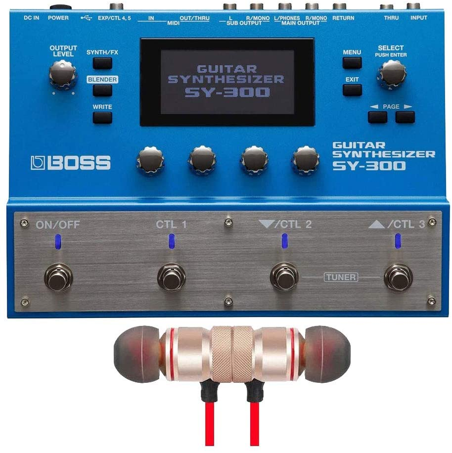 BOSS SY-300 Guitar Synthesizer includes Free Wireless Earbuds - Stereo Bluetooth In-ear and 1 Year Everything Music Extended Warranty