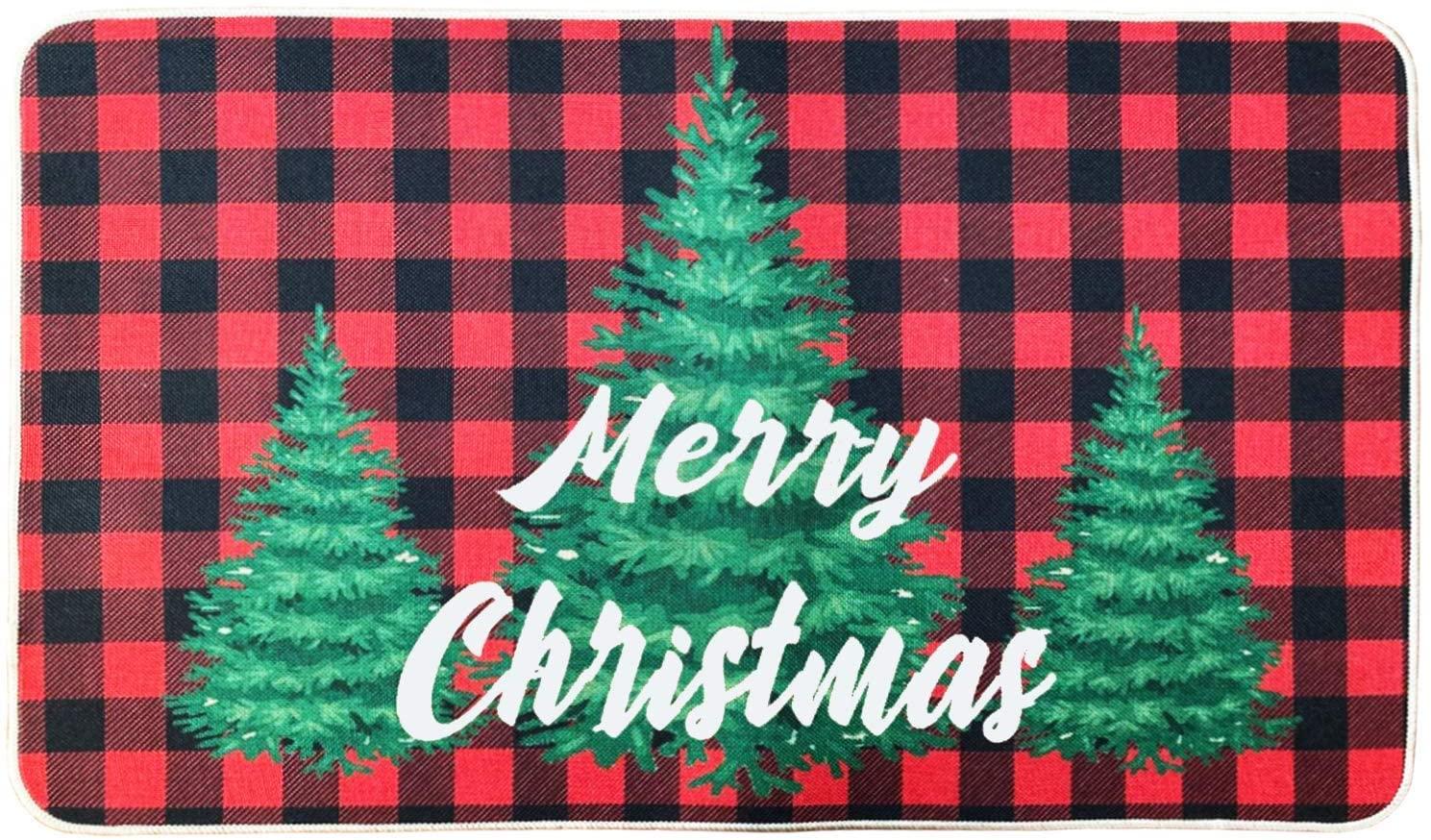 Merry Christmas Doormat 18 x 30 Inch,Winter Holiday Indoor Outdoor Home Garden Non-Skid Floor Mat,Christmas Tree Rubber Door Rug