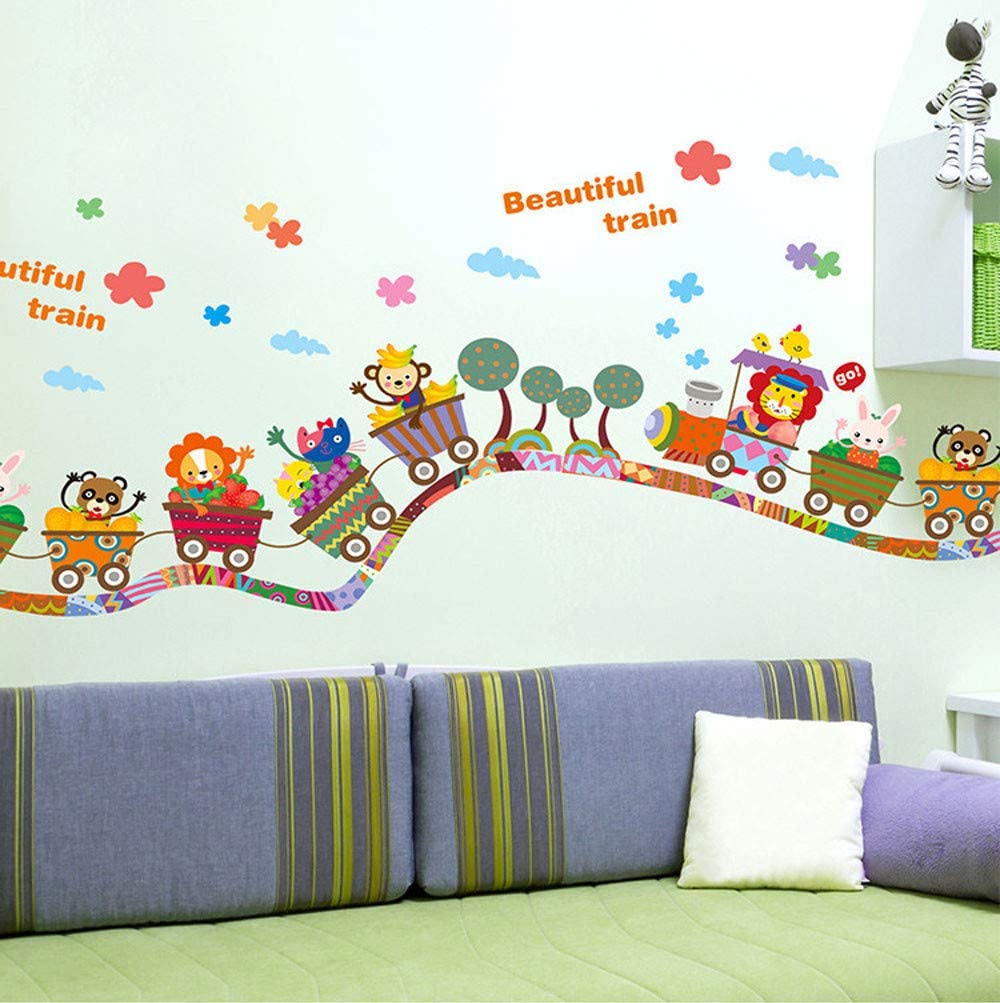 Jeash Children Wall Stickers Cartoon Animal Train Decal Bedroom Living Room Decor Baby Art Background Personality Kindergarten Nursery Decal Home Decorations