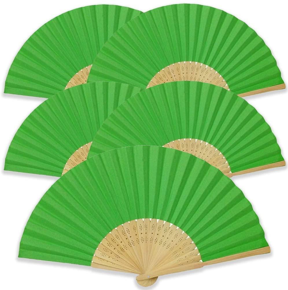 Just Artifacts Folding Paper Hand Fan 8.25-Inch Green (5 pcs)