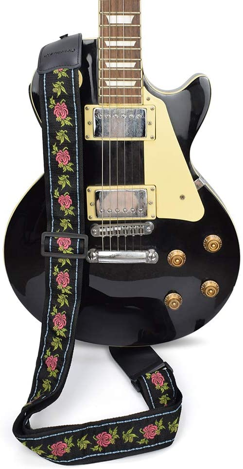 CLOUDMUSIC Guitar Strap Acoustic Electric With Jacquard Woven Patterns For Men Woman(Rosy Flowers)