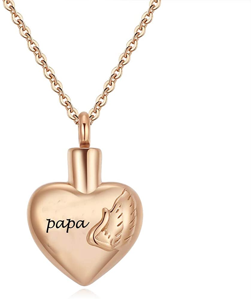 Eternal M. Rose Gold Cremation Urn Necklace Memorial Jewelry for Ashes Keepsakes Pendants for Papa Grandma Grandpa Dad Mom Brother Sister Daughter Son