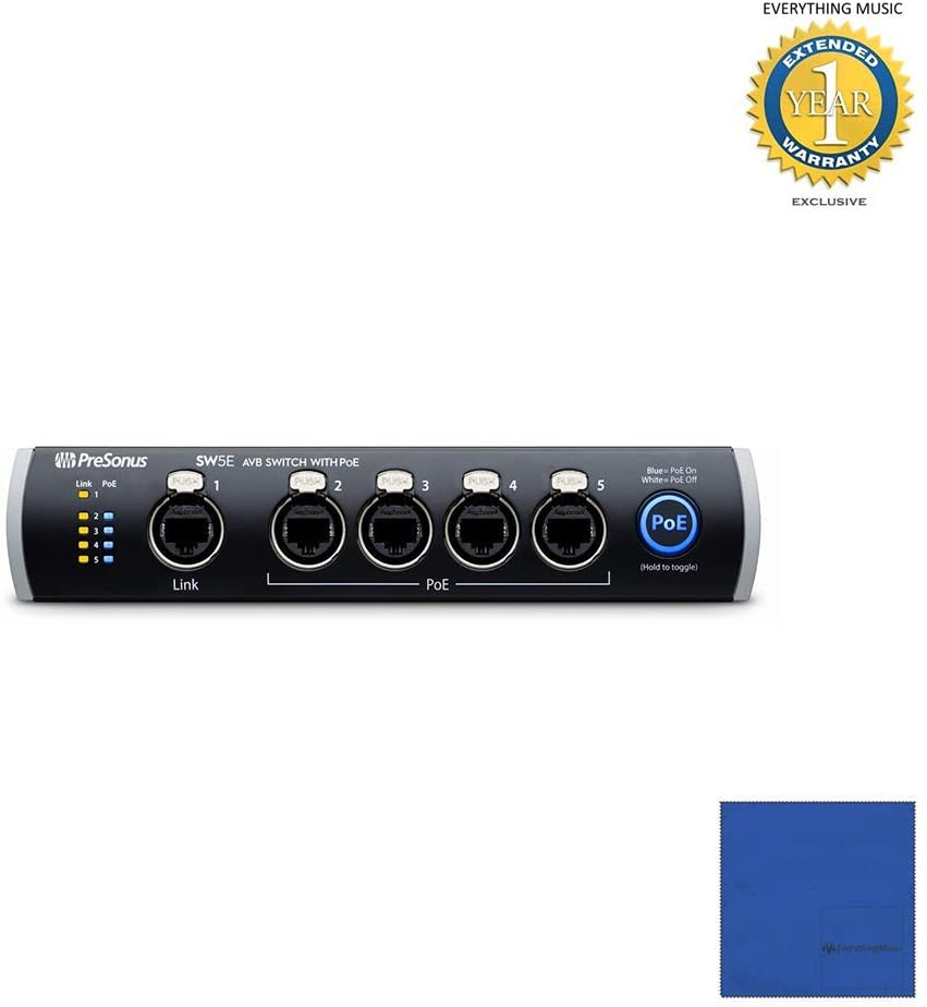 PreSonus SW5E 5-port AVB switch with PoE & Microfiber and 1 Year Everything Music Extended Warranty