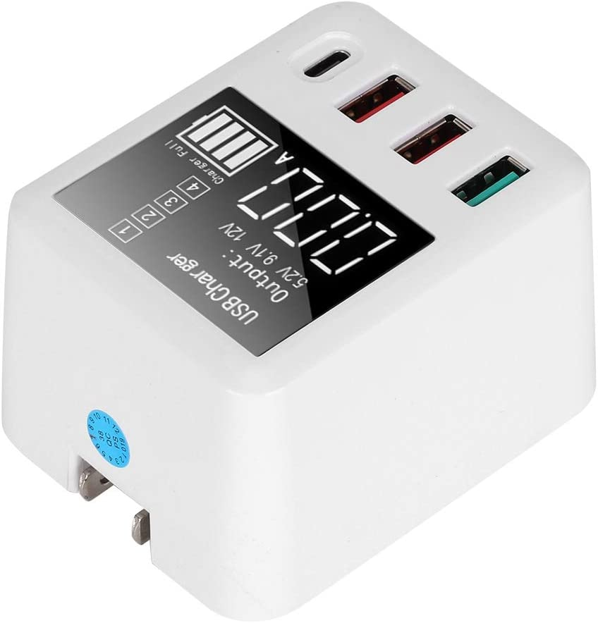 Zopsc 4 Port Intelligent Charger USB C Wall Charger Type-C Charging QC 3.0 with LED Screen Display for Mobile Phone Cellphone 100-240V(US Plug)