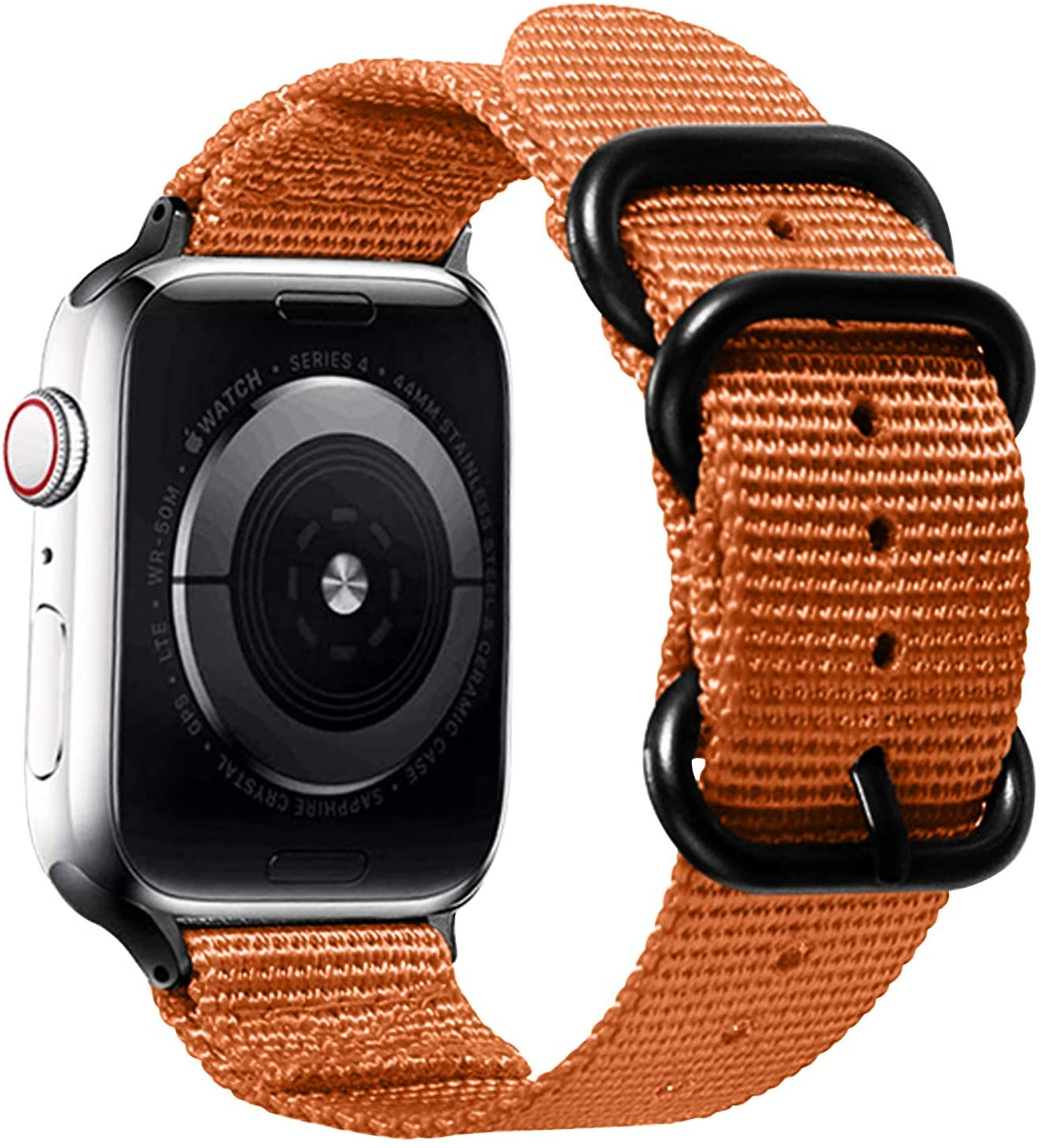 Watpro Compatible with Apple Watch Band 38mm 40mm 42mm 44mm Women Men Nylon Rugged Replacement iWatch Band Military-Style Buckle Grey Adapters for Sport Series 5 4 3 2 1 (1-Orange, 38MM/40MM)