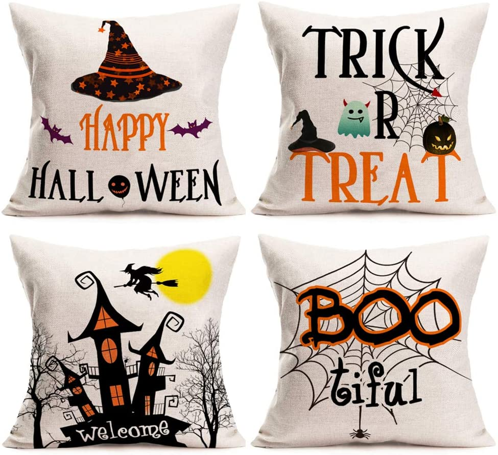 Gulidi Halloween Pillow Covers 18x18 Inches Set of 4 Trick or Treat Pillow Case Cotton Linen Fall Decor Pumpkin Witch Bat Ghost Spider Throw Pillow Cushion Cover with Quote Words Halloween Decorations
