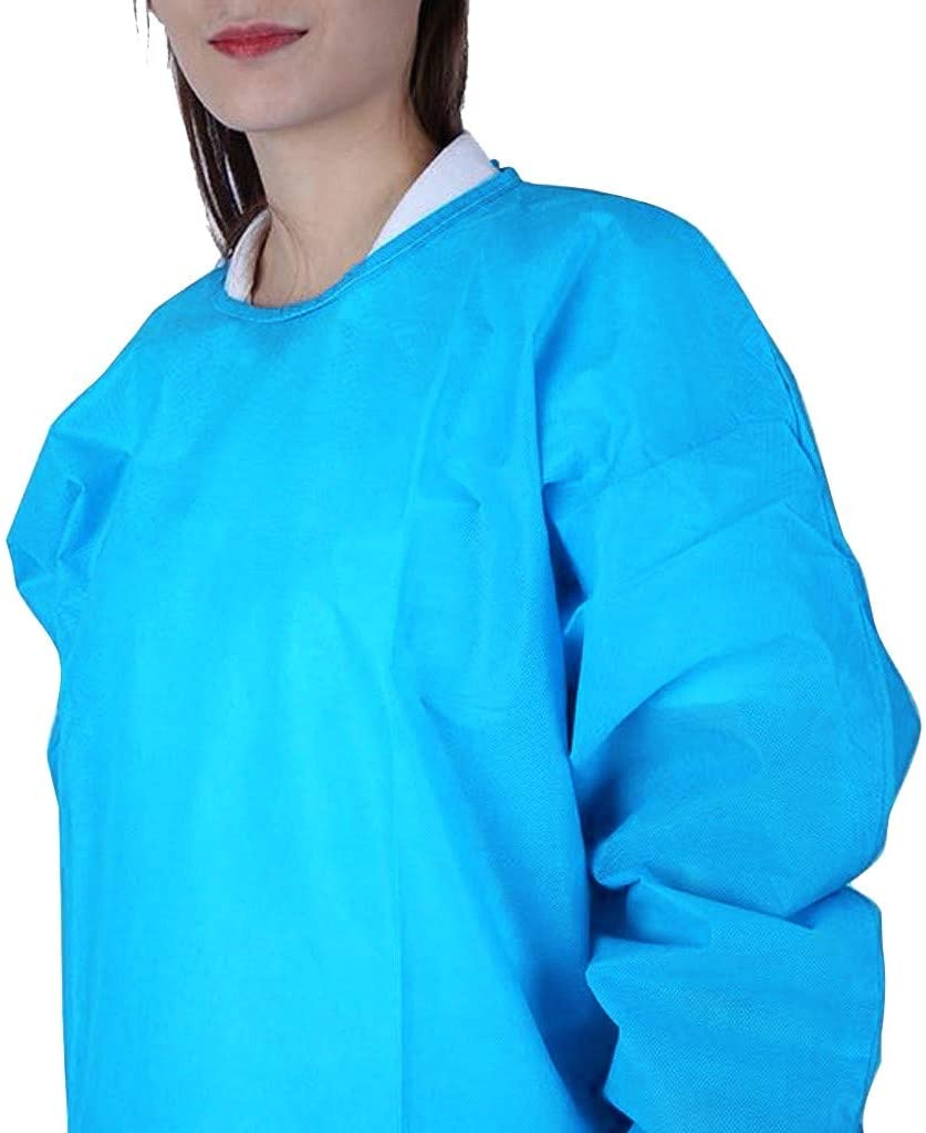 【US Stock】Disposable Surgical Gowns Xl, Polyethylene Isolation Gown, Non-Surgical, Non Sterile, Protective Suit,Isolation Gowns - Blue - L - 5PC
