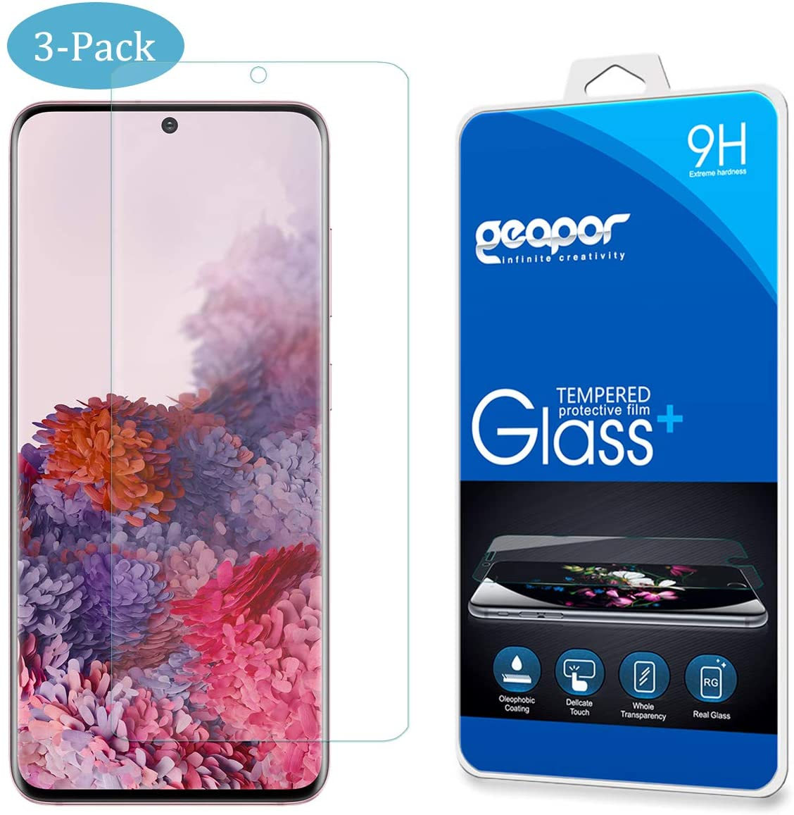 [3-Pack] Geapor Screen Protector for Samsung Galaxy S20,Tempered Glass Scratch-Resistant, Bubble-Free Screen Protector