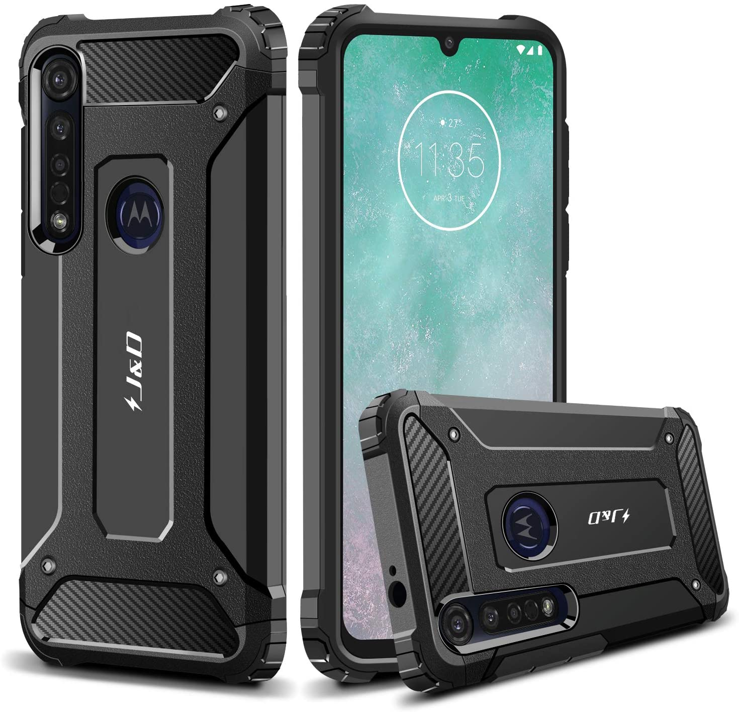 J&D Case Compatible for Motorola Moto G8 Plus Case, Heavy Duty ArmorBox Dual Layer Shock Resistant Hybrid Protective Rugged Case for Moto G8 Plus Case, Black