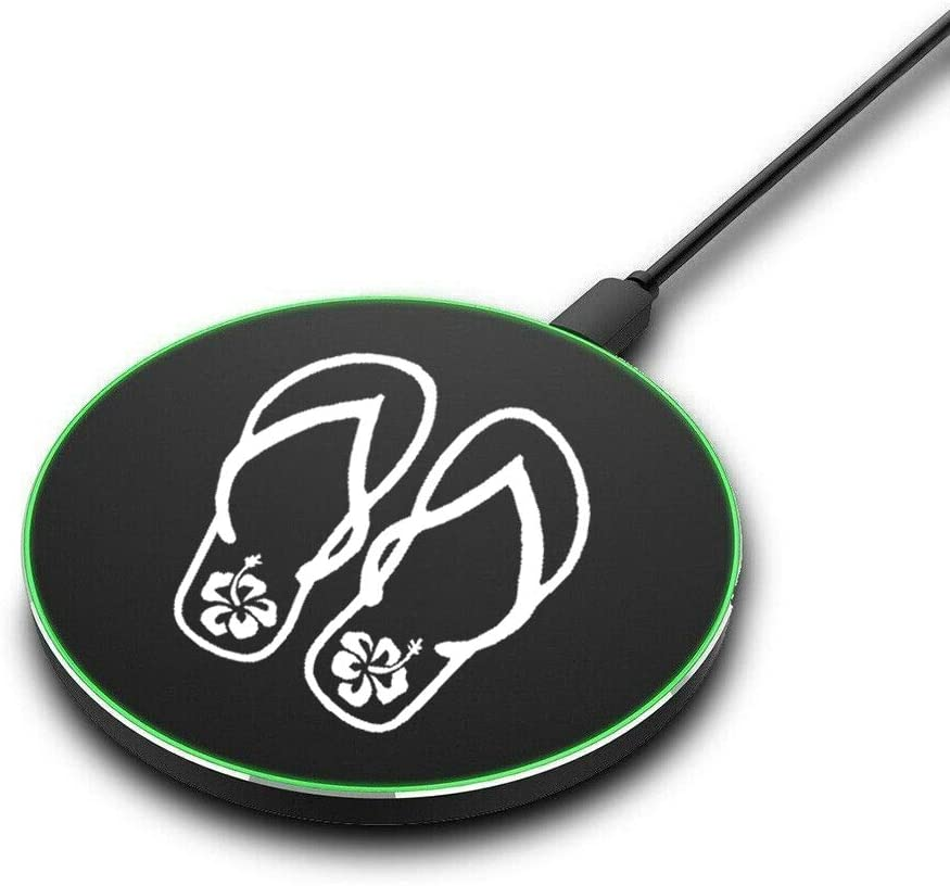 Qi Fast Wireless Charger Mat 10W Charging Pad Flip Flop with Hibiscus
