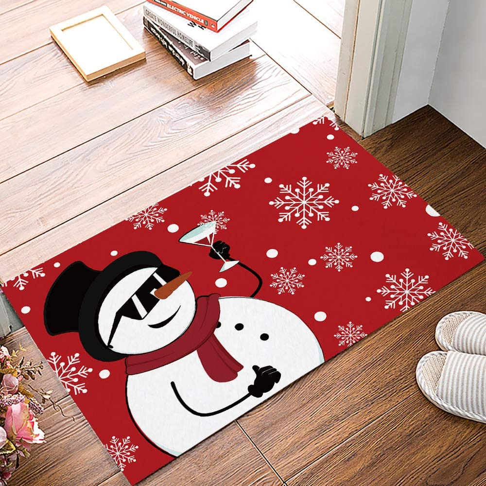 Arts Language Funny Doormats for Entrance Way Indoor Front Door Welcome Rugs Snowman Drinking White Snowflake Red Print Non-Slip Bath Mat Kitchen Mat Floor Carpet for Bedroom/Office 20x31.5inch
