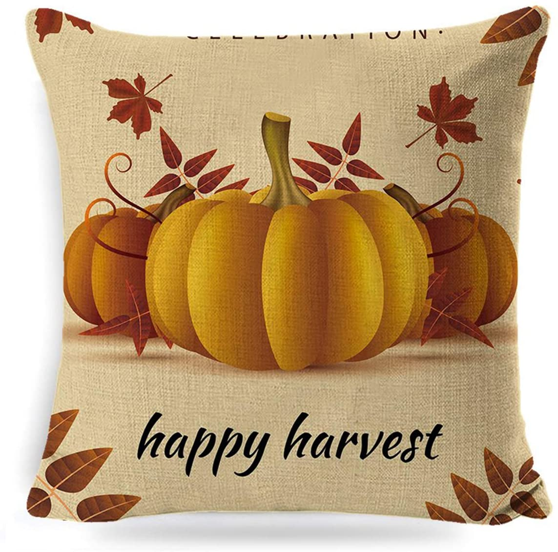 SASTYBALE 18x18 Fall Pillow Covers-Autumn Harvest Pumpkin Throw Pillows Thanksgiving Farmhouse Decorative Pillowcase Cotton Linen Cushion Case for Outdoor Decor