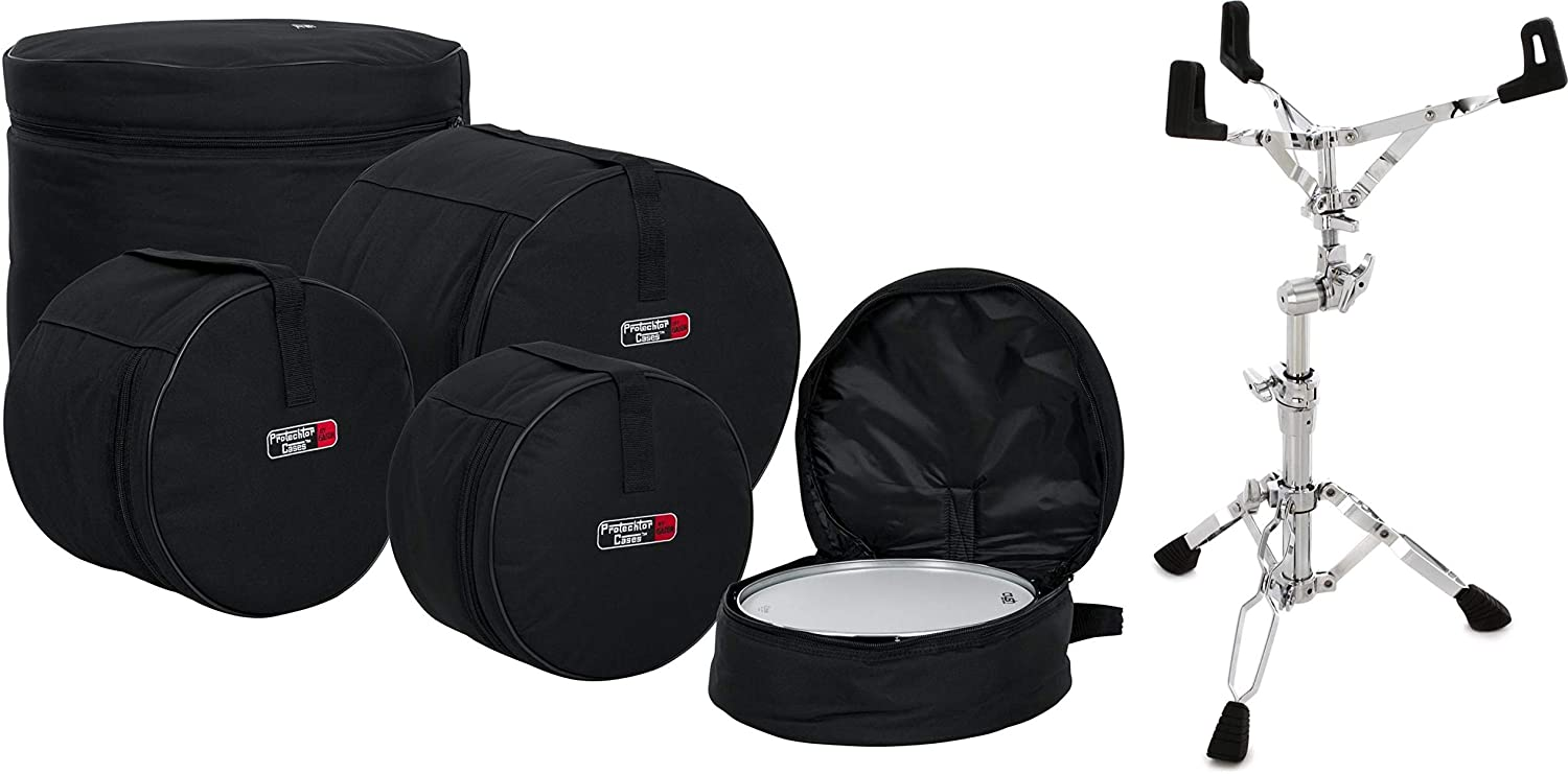 Gator GP-FUSION16 5-piece Fusion Set Drum Bags + Pearl S930 Double Braced Snare Stand Value Bundle