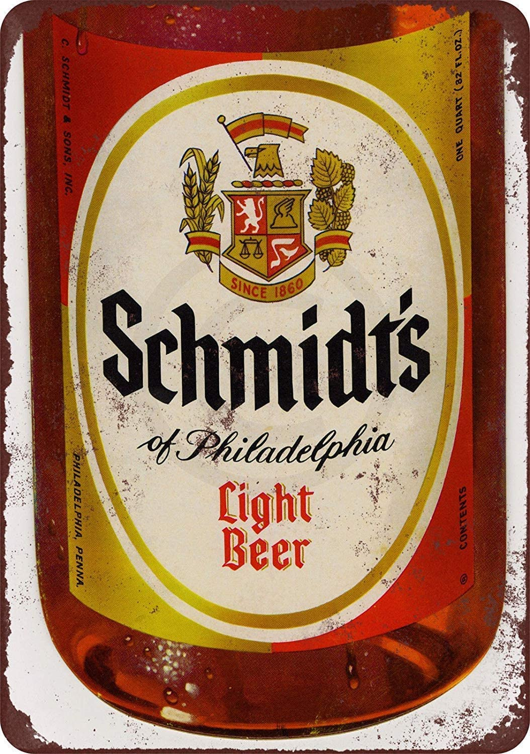 INNAPER Funny Retro Wall Décor Tin Sign for Home Schmidt's Light Beer Rustic Vintage Aluminum Metal Sign 8x12 Inches (YHA095)