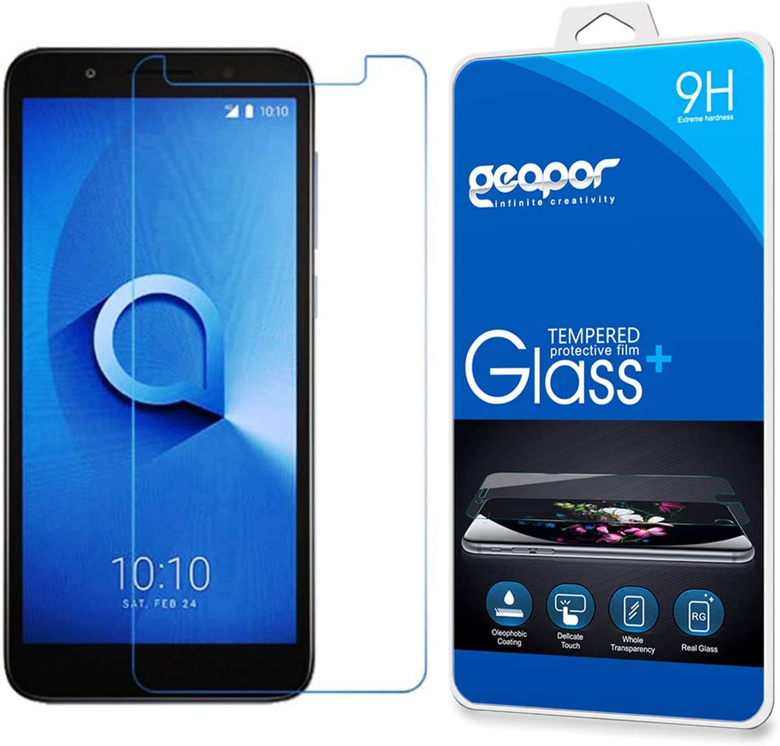 Screen Protector for Alcatel Onyx /1X 2019, Geapor Anti-Scratch Tempered Glass for Alcatel 1X 2019