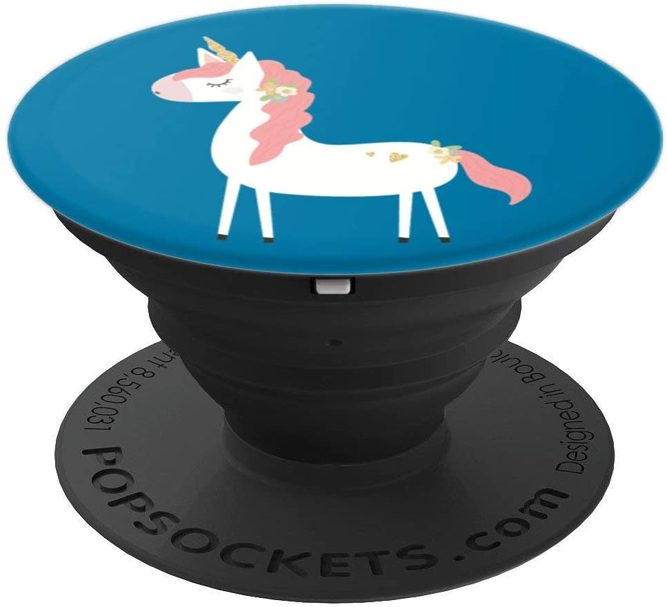 Cute & Unique Pink & Blue Floral Unicorn PACJ0790 PopSockets Grip and Stand for Phones and Tablets