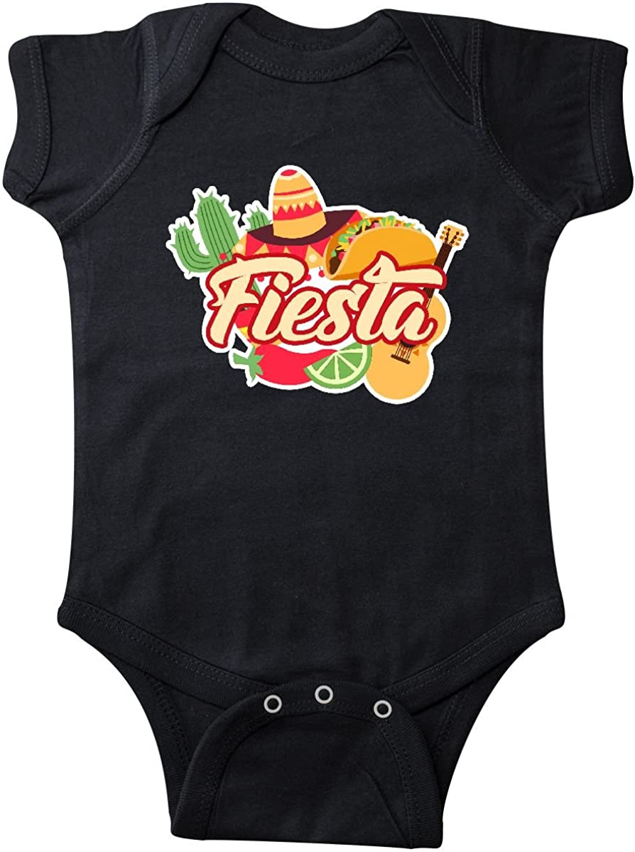 inktastic Fiesta with Sombrero Taco Cactus Lime Red Pepper and Infant Creeper
