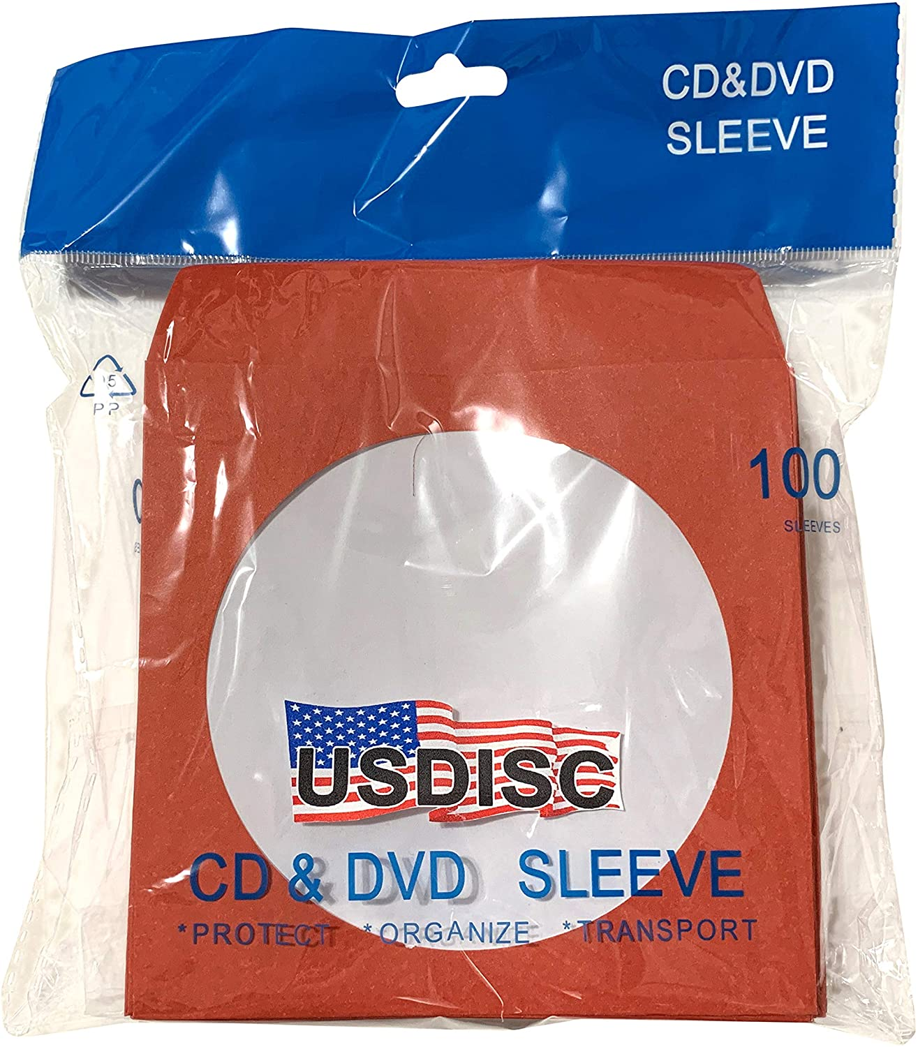 USDISC Paper Sleeves 100g Window, Flap, Red, Pack of 200