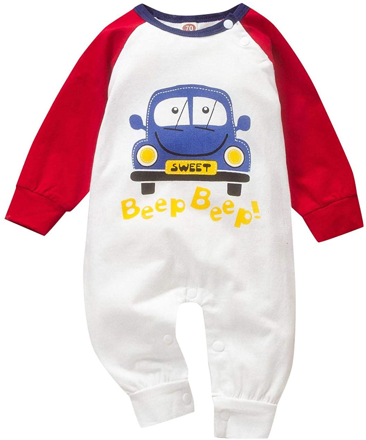 GoodLock(TM) Newborn Infant Baby Boys Girls Cartoon Romper Letter Car Print Jumpsuit Outfits Long Sleeve One Pieces Clothes