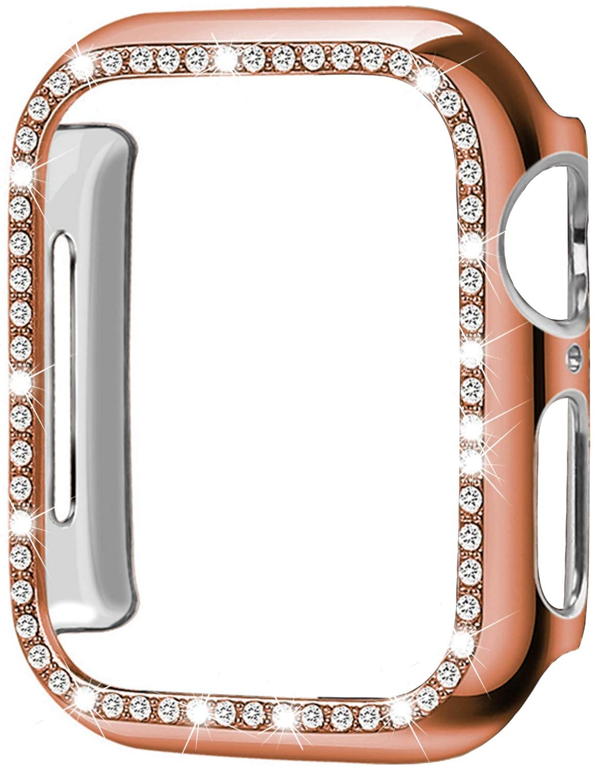 [1-Pack] ALADRS Bling Hard Bumper Frame Compatible with Apple Watch 44mm Case, Shiny Crystal Diamonds Protective Cover for iWatch Series 6 Series 5 Series 4 SE (Rose Gold 44mm)