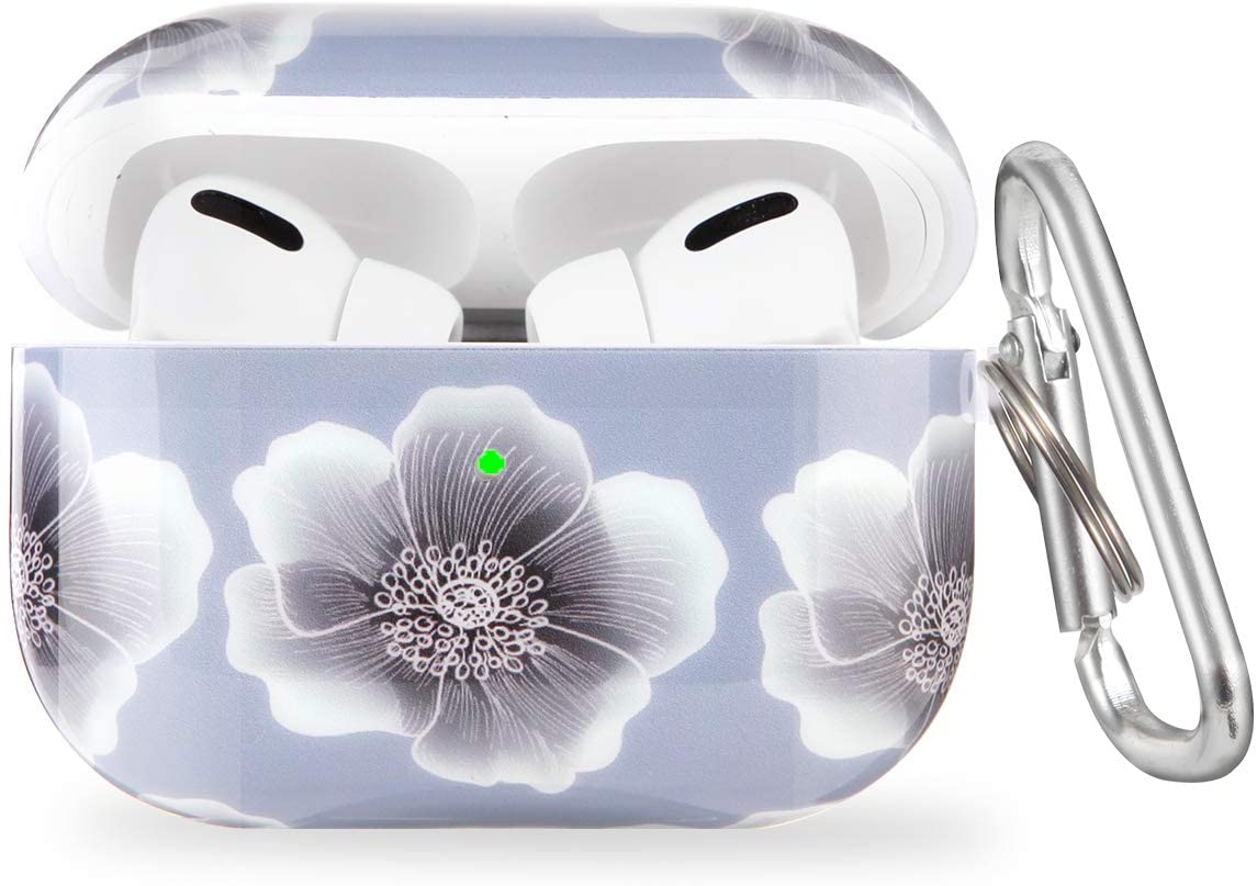 Airpods Pro Case with Keychain and Cute Flower Skin,OLEBAND Airpod Pro Hard Protective Cover and Accessory,for Women and Girls,Compatible for Air pods 3,Peach Blossom