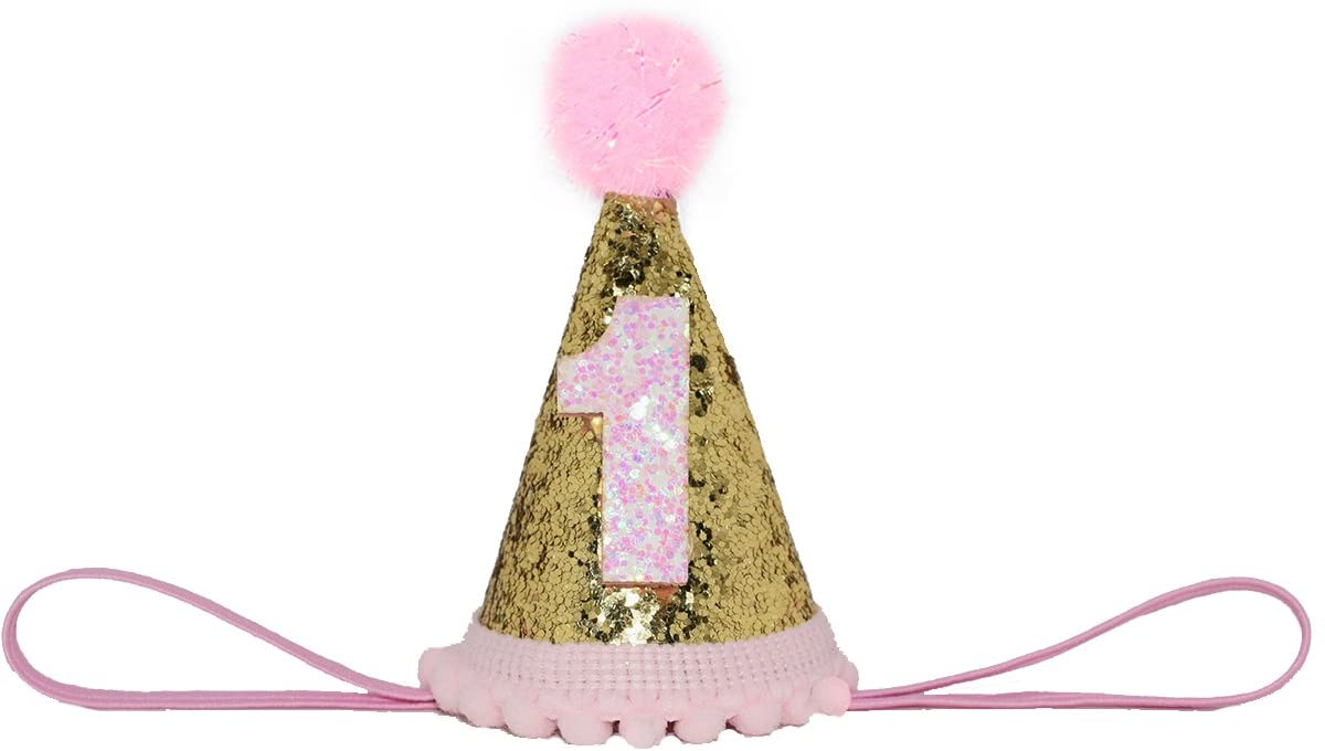 Perktail Glitter Dog First Birthday Cone Hat Mini Doggy Cat Kitty Birthday Party Hats
