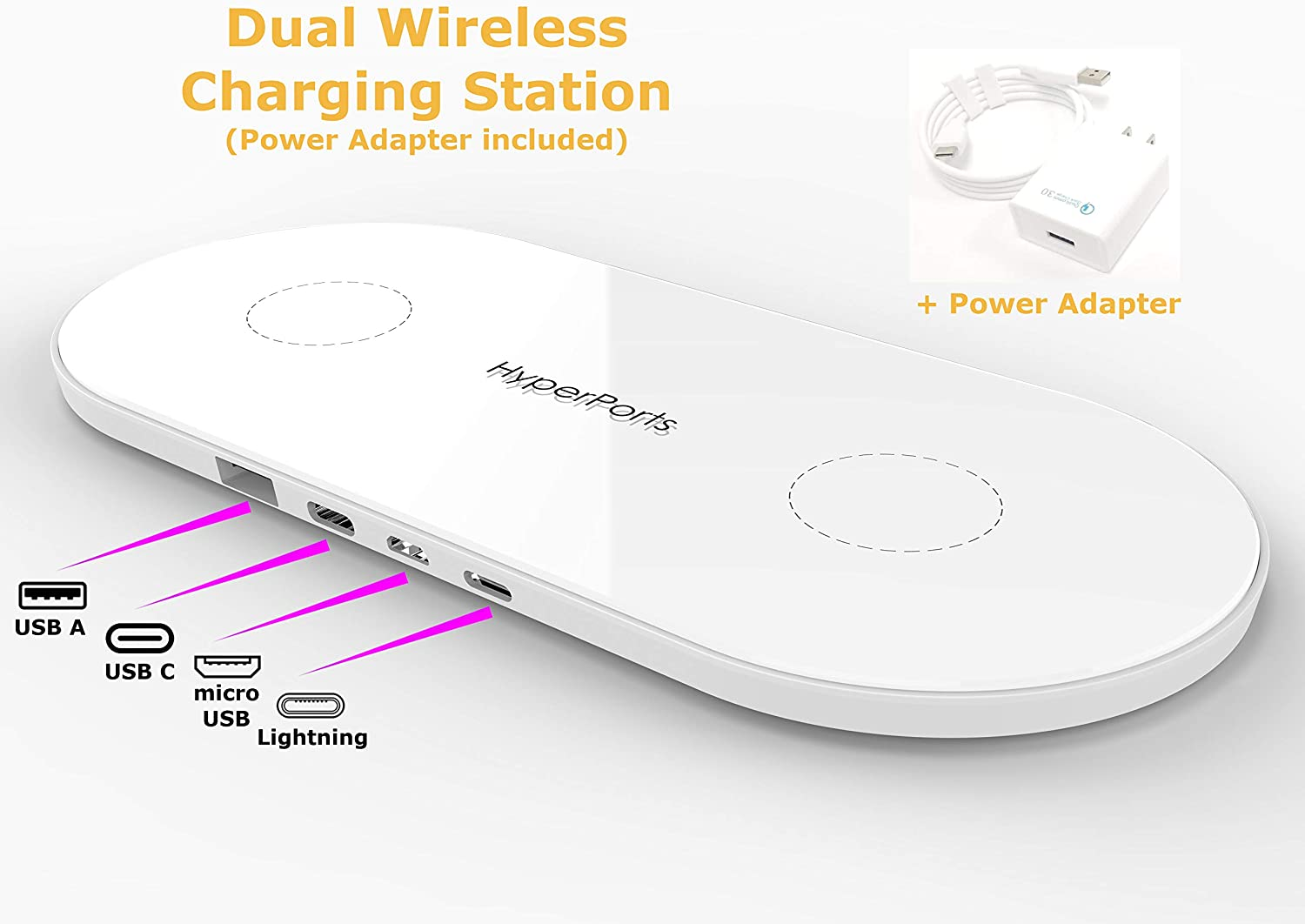 Hyperports Dual Wireless Charger for iPhone X + USB C, Micro USB & Apple Charging Compatible w/iPhone XR/XS MAX 8/8 plus/9/9 Plus, Samsung Galaxy Note 8, S8/S8 Plus, S7/S7 Edge, S6 Edge Plus/Note 5 +