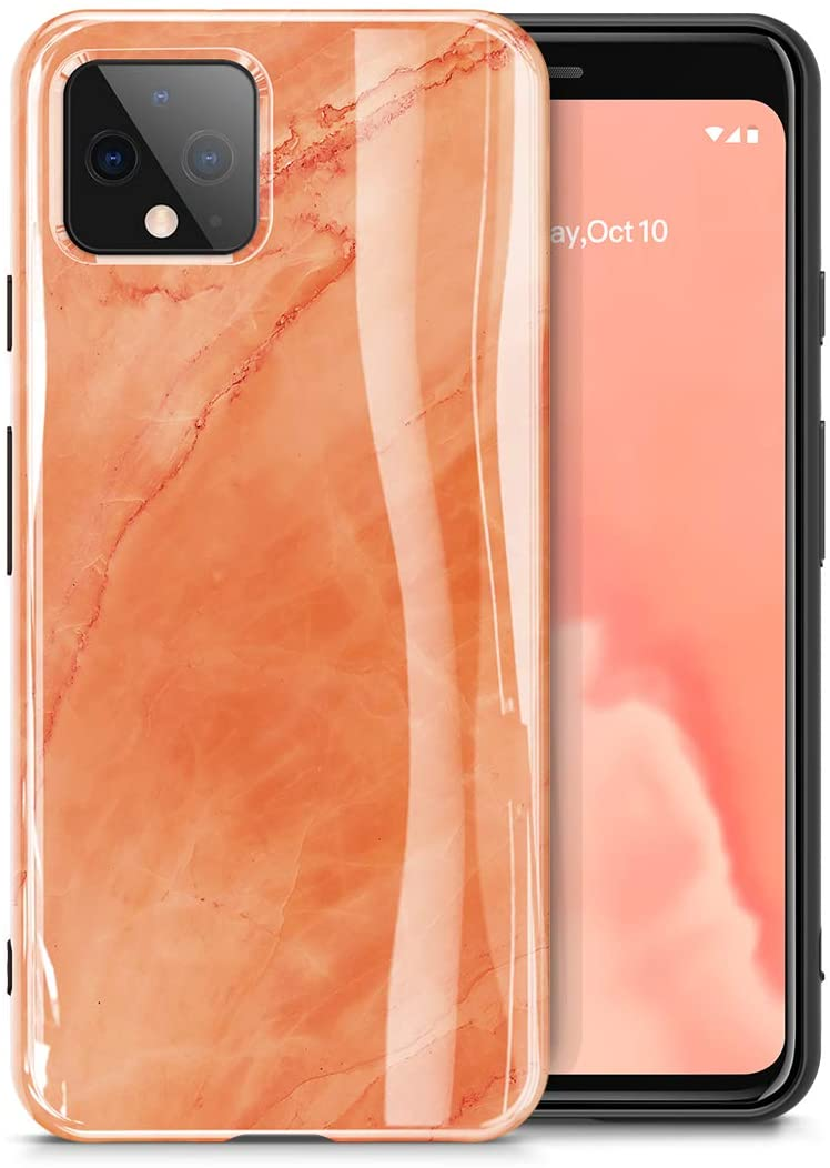 GVIEWIN Nature Series for Google Pixel 4XL Case 2019, Ultra Slim Thin Glossy Soft TPU Rubber Gel Marble Phone Case Cover Compatible with Google Pixel 4 XL (Aurora/Orange)