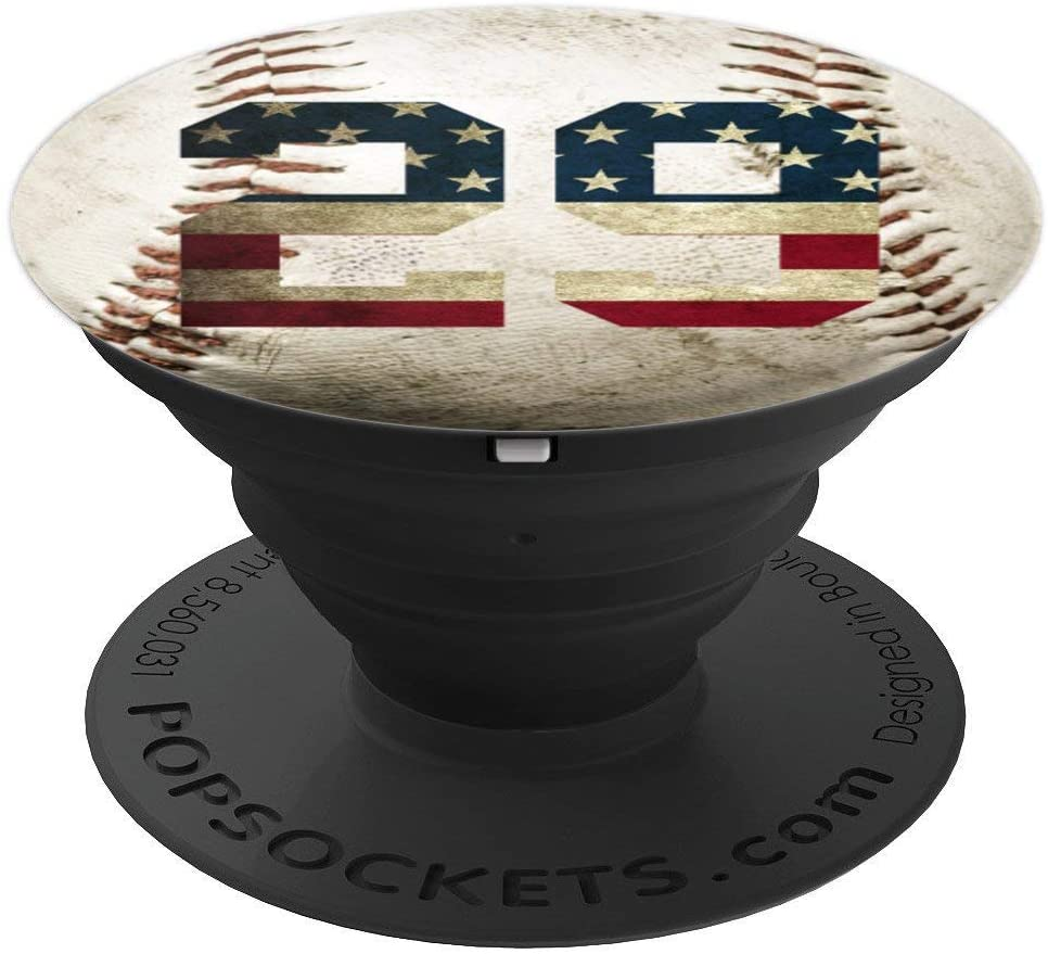Baseball number 29 with American USA flag phone stand PopSockets Grip and Stand for Phones and Tablets