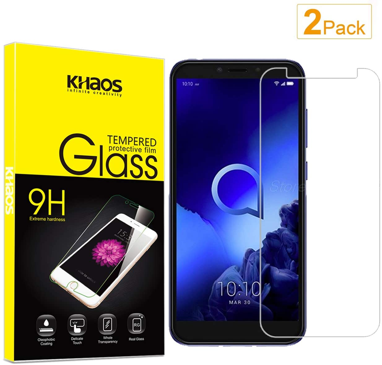 [2 Pack] Khaos for Alcatel 1S 5024D 2019 Tempered Glass Screen Protector, Scratch Resistant, Bubble Free
