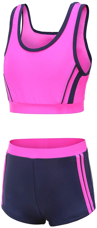 Girls Two Piece Tankini Boyshort Swimsuit Kids Swimwear Set Sun Protection Bathing Suit