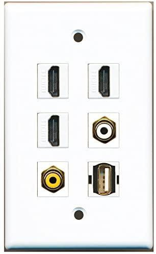 RiteAV - 3 HDMI 1 Port RCA White 1 Port RCA Yellow 1 Port USB A-A Wall Plate