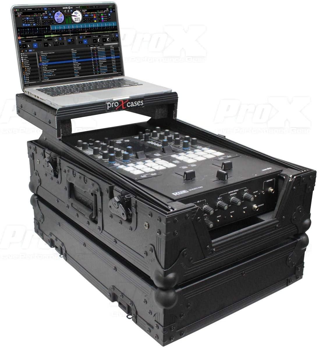 Prox XS-RANE72LTBL 11 ATA-300 Style Gig Ready Flight/Road Case with Laptop Shelf for Rane Seventy-Two 72 DJ Mixer, Black on Black