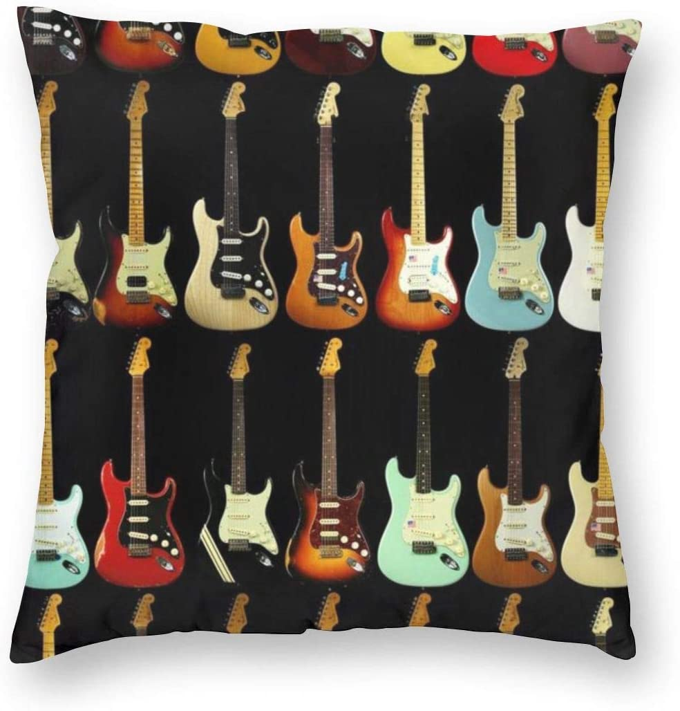 antkondnm Guitar Music Home Decor Throw Pillow Cover, Lightweight Soft Plush Square Decorative Pillow Case 18x18 Inch Cushion Cover, Sham Stuffer, Machine Washable