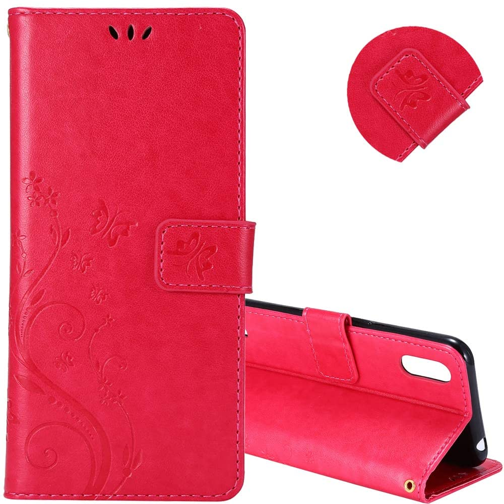 EMAXELER Samsung Galaxy S10 Plus Case Shockproof Premium PU Leather Butterfly Embossing Case [Credit Cards Slot][Cash Pockets] Flip Magnetic Wallet Case for Galaxy S10 Plus Color Rose GH