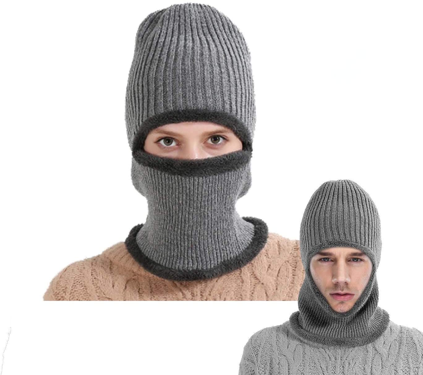 Mocofo Flannel Unisex Beanie Hat The Softest Kint Winter Face Mask Riding Hat Add Warm Velvet Protection & Slouchy Trendy 3-in-1 Grey Cold Weather Beanies with Flexible Neck Guard for Outdoors