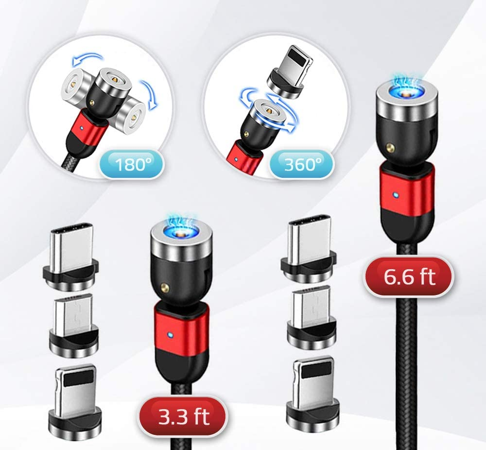 Columbig Magnetic Phone Charger Cable 3 in 1,Pack for 2 (3ft + 6ft), with 360° & 180° Rotation, Compatible with iProducts, Type C and Micro USB (3ft + 6ft) (Red)