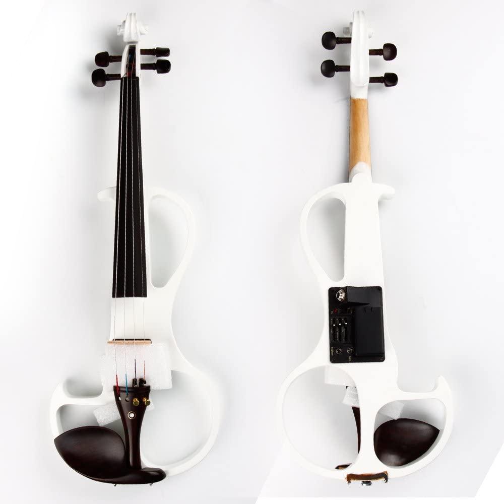 Clear Electric Violin Plastic Classic Violin with Ebony Violin Code (White)