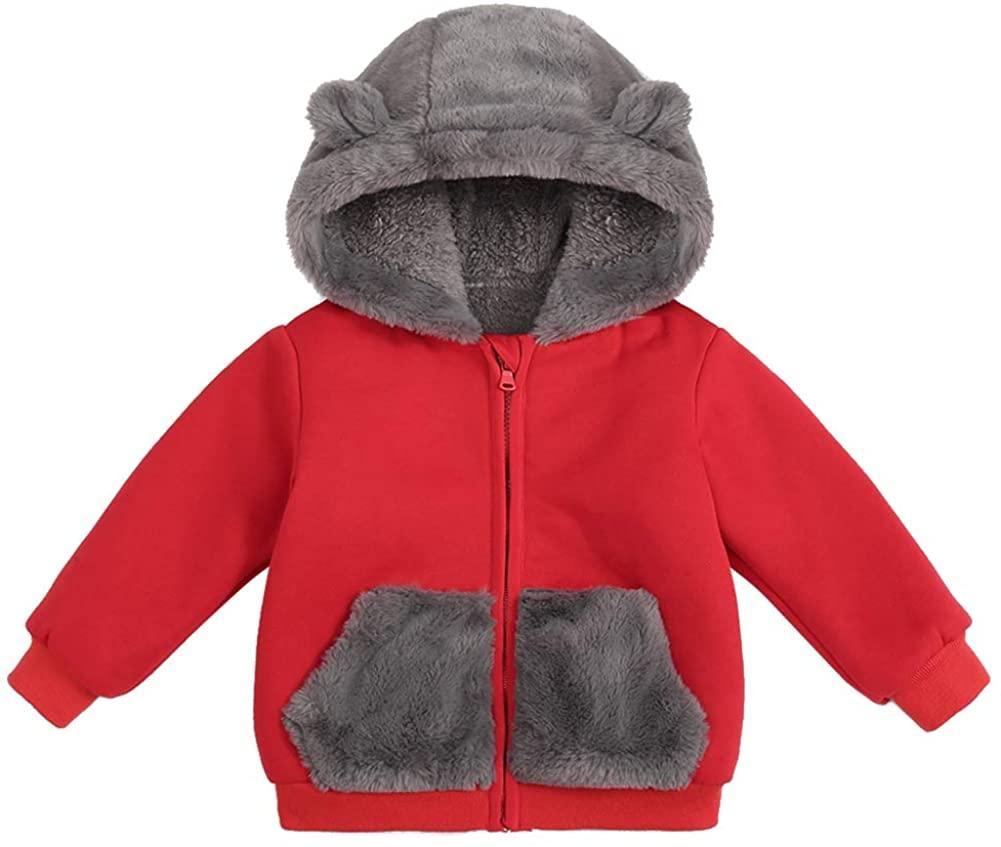 Happy Cherry Fleece Hoodies Winter Warm Outwear Coat Sherpa Fuzzy Snowsuit Cute Jacket with Bear Ear