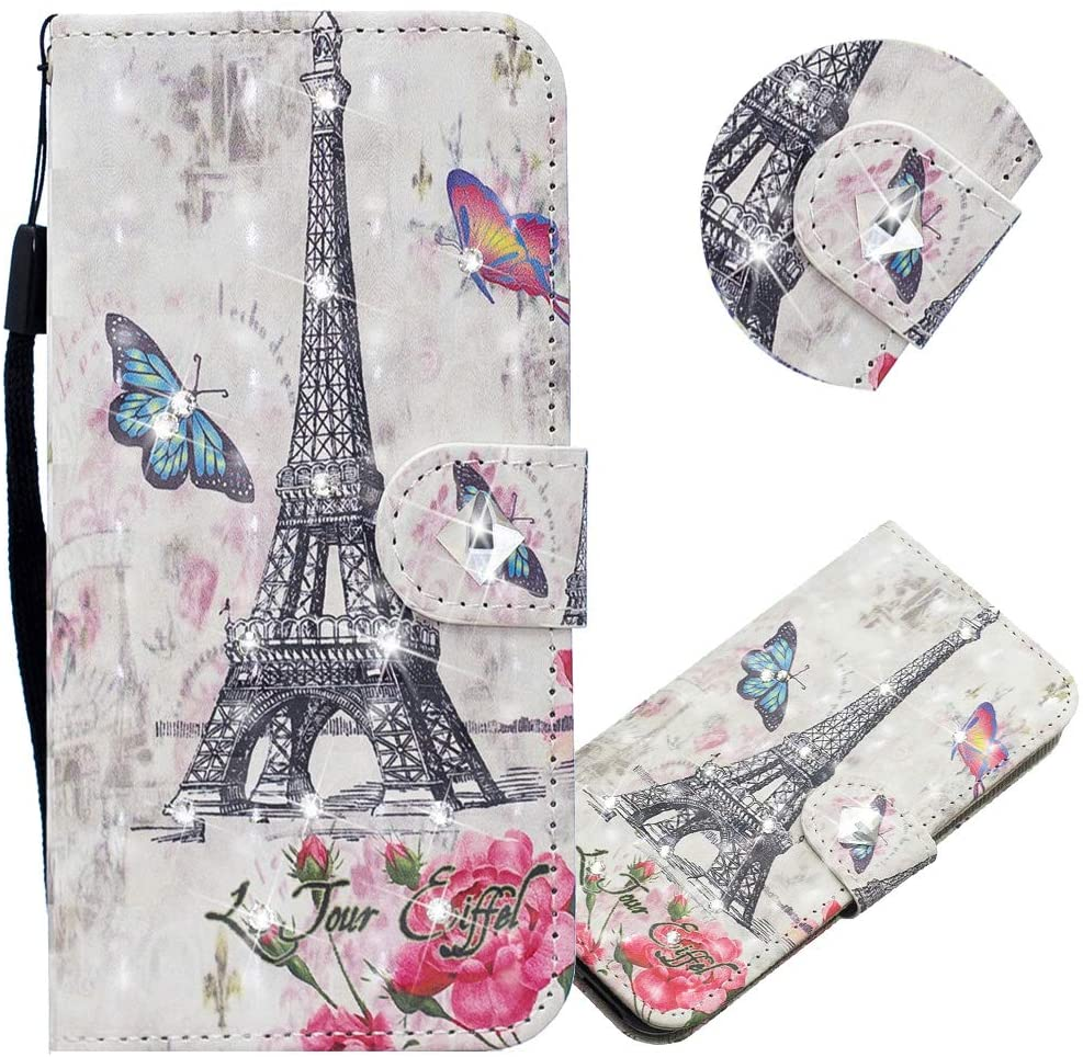 EMAXELER Galaxy S8 Case 3D Creative Pattern PU Leather Wallet Diamond Case Bookstyle Flip Stand Card Holder Shockproof Magnetic Cover for Samsung Galaxy S8 CY Eiffel Tower.