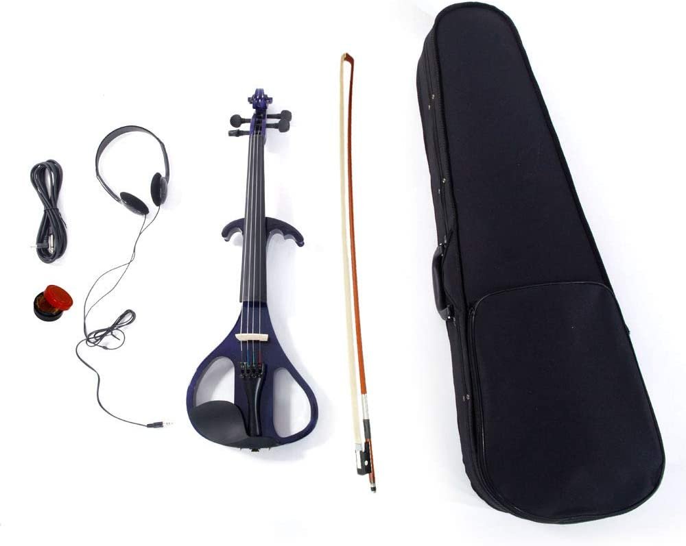 Festnight 4/4 Basswood Wood Electric Violin Full Size Violin with Carrying Case,Bow,Rosin,Head Set,Connecting Line for Violin Beginner/Professional/Student/Junior/Adult/Children/Youth Purple