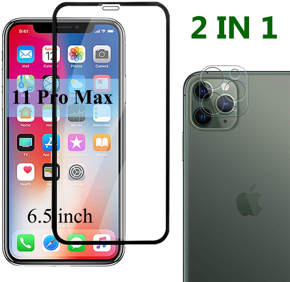 11 Pro Max Screen Protector & Camera Lens Glass Compatible With Apple iPhone 11Max Tempered Glasses Anti-Scratch 9H Hardness IP 11Pro Maxx Protective Film 2 In 1 Set 6.5 Inch