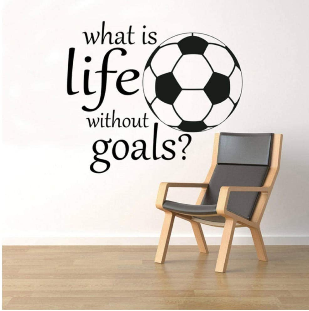 vwsitc Sport Motivational Quotes What is Life Without Goals Wall Decal Vinyl Sticker for Kids Room Decoration Sports Vinyl Art 57X65Cm