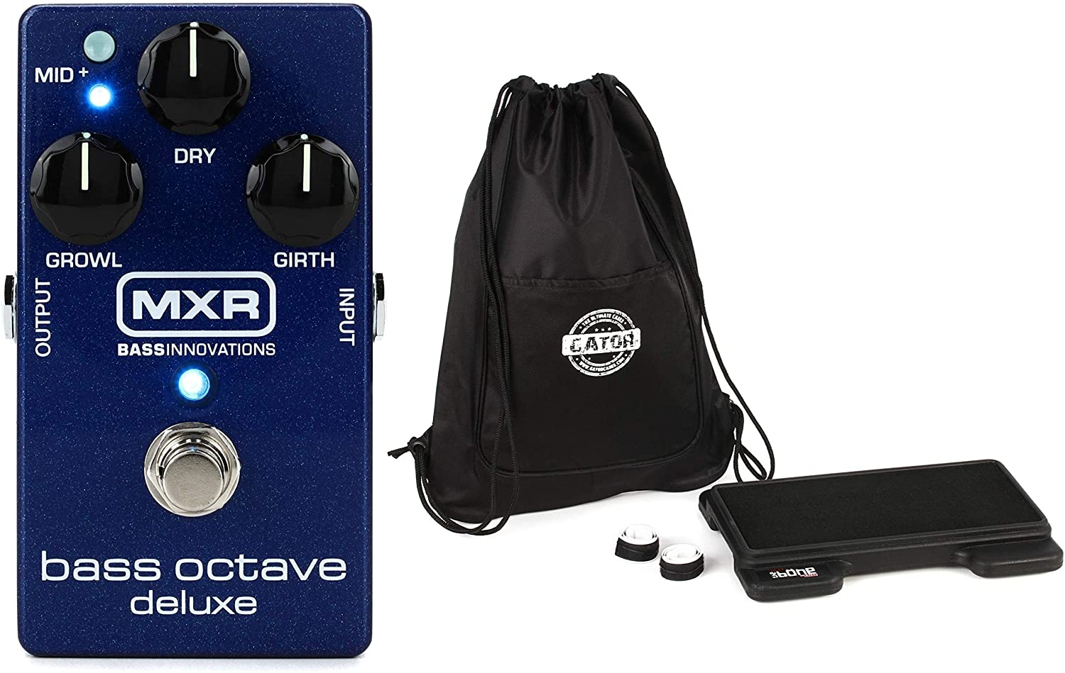 Gator G-Mini-Bone - 3-Pedal Molded Pedalboard with Carry Bag + MXR M288 Bass Octave Deluxe Pedal Value Bundle