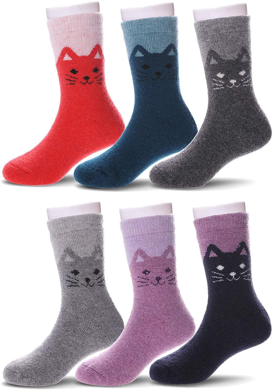 YEBING 6 Pack Kids Boys Girls Winter Wool Socks Children Warm Thick Thermal Crew Socks