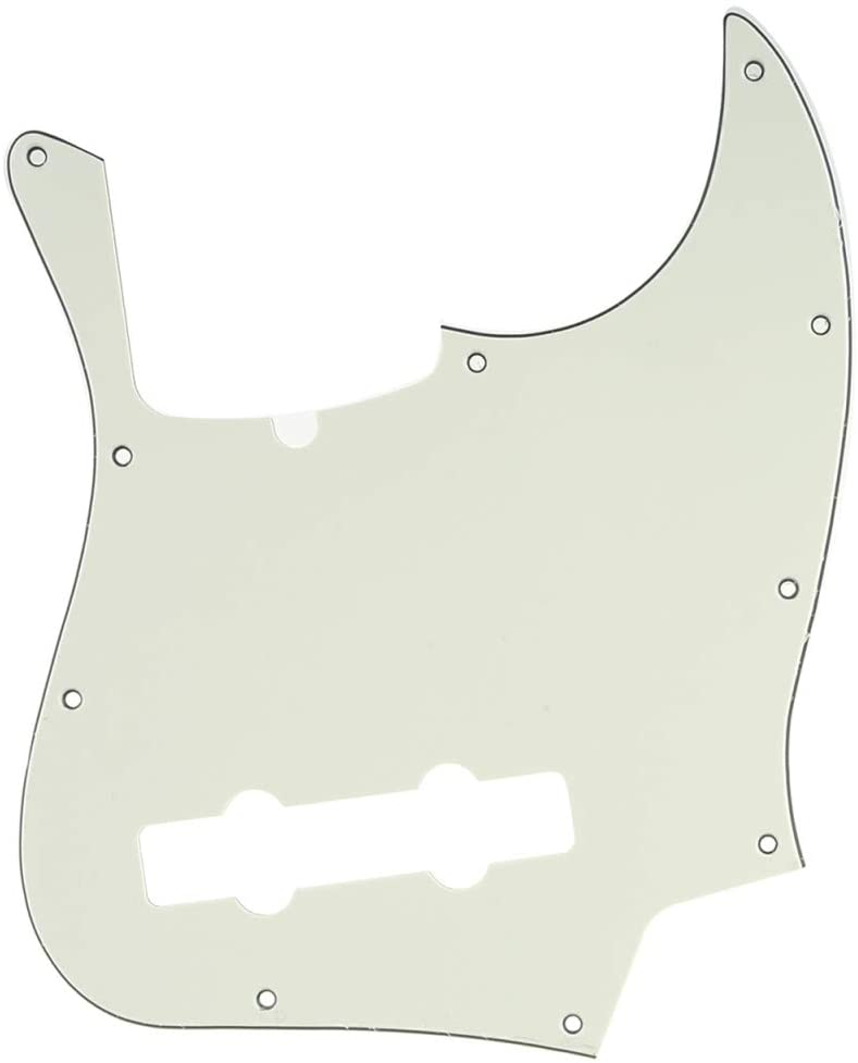 Musiclily Pro 5-String 10-Hole Contemporary J Bass Pickguard for Fender American Jazz Bass, 3Ply Ivory