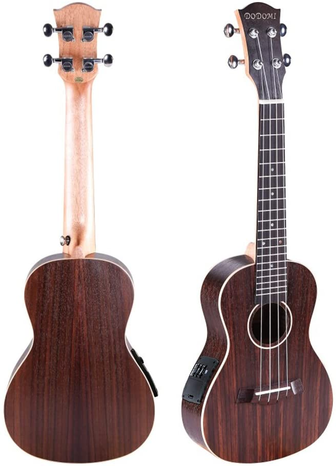 Ukulele Which can connect speaker made by Sapeliwood and Rosewood with Built-in EQ Pickup Stringed Musical Instrument (23 inch, Purple)