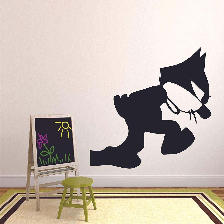 Felix The Cat Pacing Comics Wall Decal Design for Girls Boys Baby Kids Children Bedroom Nursery Daycare Kindergarten Cartoon Fun Home Decor Stickers Wall Art Vinyl Decoration Size (40x40 inch)