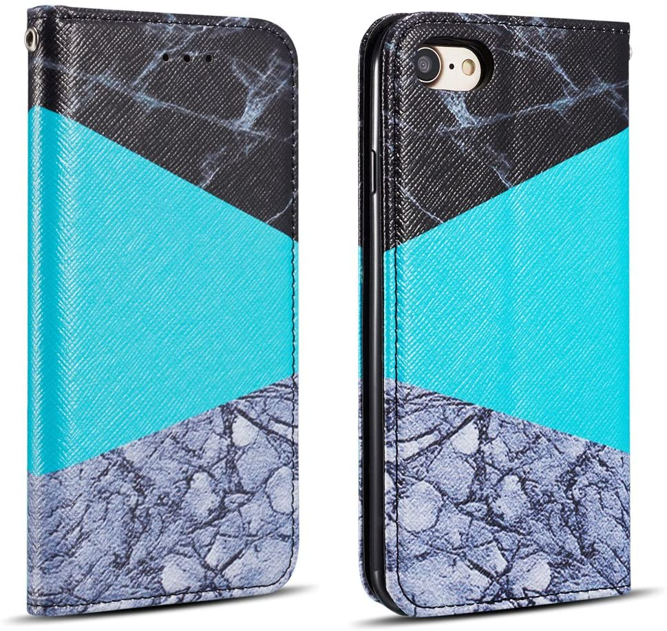 ZCDAYE Wallet Case for iPhone 6 Plus 6S Plus,[Granite Marble Pattern] Magnetic Closure PU Leather Folio Flip Case Cover with[Card Slots][Kickstand] for iPhone 6 Plus/6S Plus 5.5